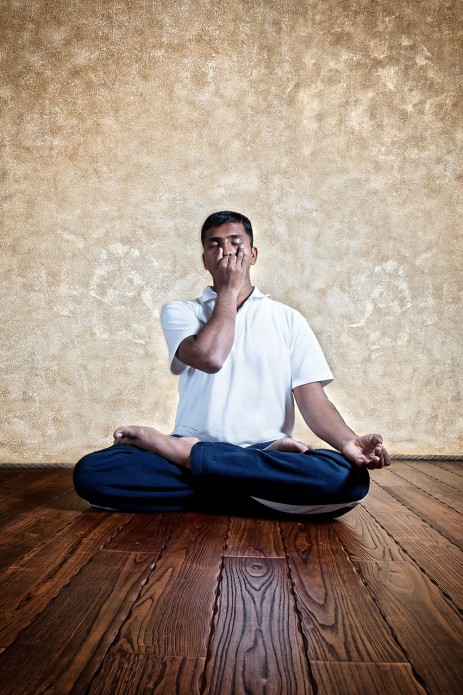 """""""This breathing exercise helps to balance the left and right (lunar and solar) pathways of breath in the body and instantly calms and focuses the mind."""""""